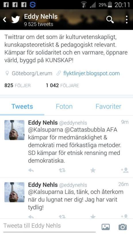 Eddy Nehls twitter om AFA 2015-10-28