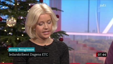 Jenny Bengtsson i SVT:s Gomorron Sverige 30 dec 2016